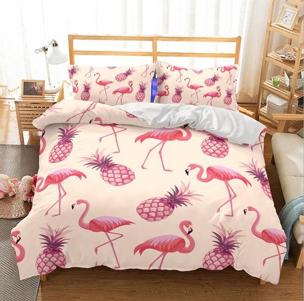 Lucky Home King Size 3D Summer Pineapples Pattern Bedding Set Tropical Plants Children Home Textile Bedding Sets Duvet Cover Sheet Sets
