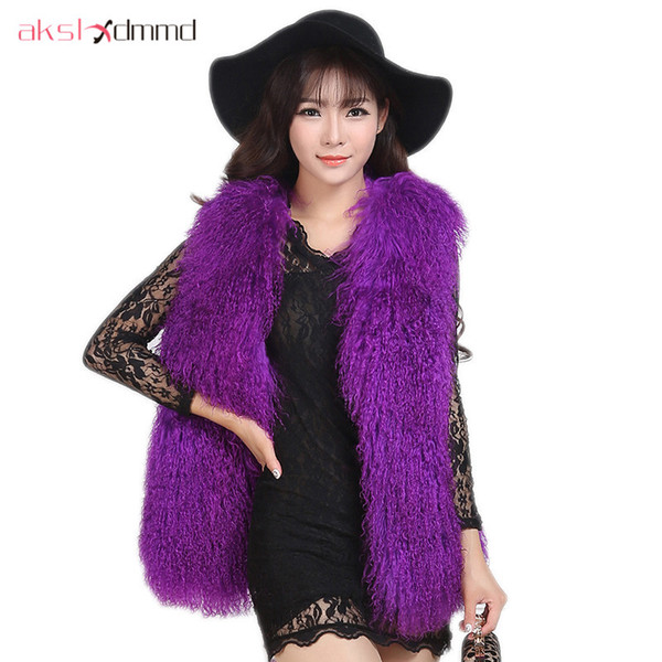 Fur Jacket 2017 New Fur Sheep Wool Overall Leather Autumn and Winter Women V-neck Mid-long Vest Coat Colete De Pele LH578