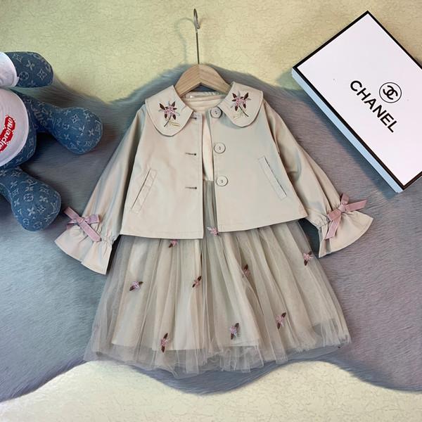 Girls set children designer clothing 2019 new solid color dress + jacket 2pcs stitching skirt flower embroidery speaker design girl suit