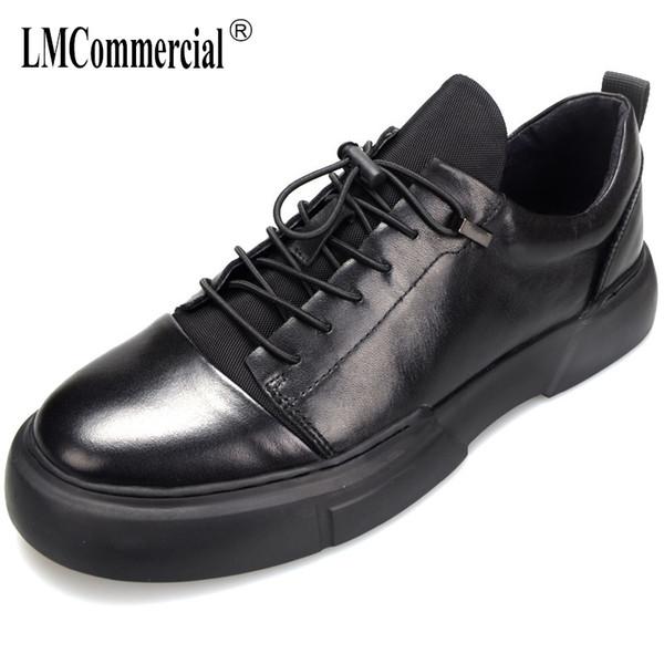 Yüksek Kaliteli Hakiki deri çörek topuk lüks ayakkabı erkekler tasarımcı Dantel-Up Iş Erkekler rahat Ayakkabılar Elbise dana