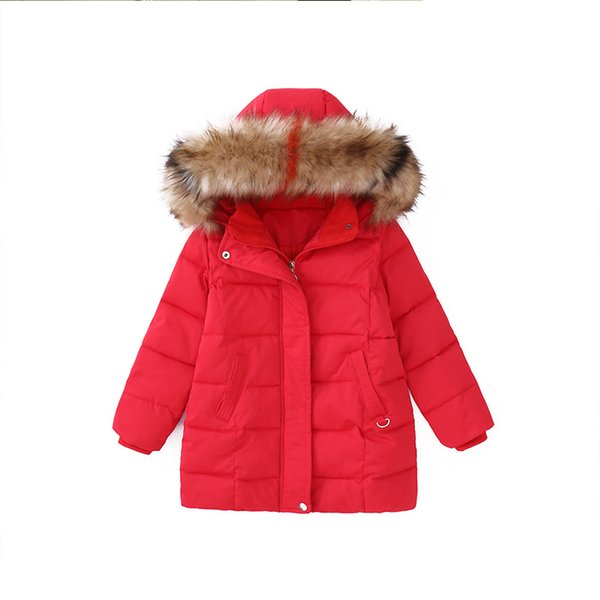 Rlyaeiz 2018 New Winter Jackets For Girls Children Coat Fashion Colorful Fur Collar Mid-long Jacket Thick Warm Parka Overcoat
