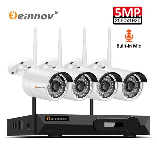 Einnov 4CH H.265 Système de caméra de sécurité extérieure sans fil avec enregistrement audio Kit de surveillance vidéo 5MP IP NVR CCTV Wi-Fi P2P