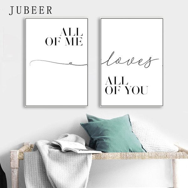 Scandinavian Style Black And White Motivational Love Quote Posters Minimalist Canvas Painting for Living Room Decoration Picture