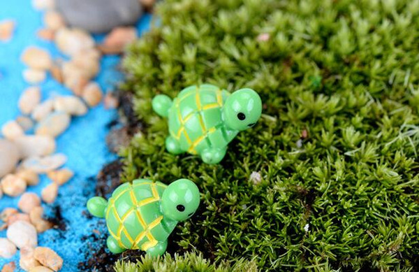 best selling artificial cute green tortoise animals fairy garden miniatures gnomes moss terrariums resin crafts figurines for garden decoration