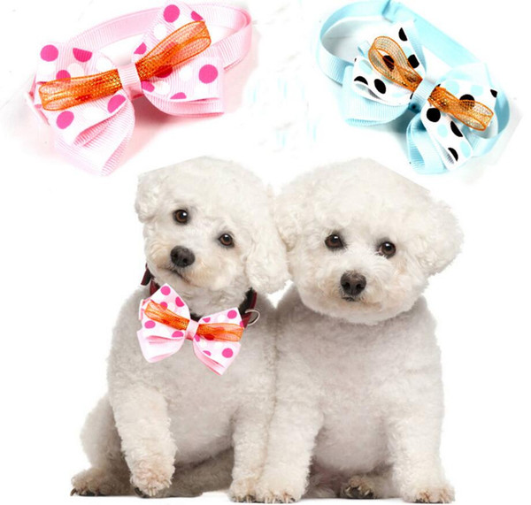 lastest Pet puppy Cat Dog pink/blue polka dots bow tie necklace collar bowknot necktie grooming for pet supplier decoration Costume