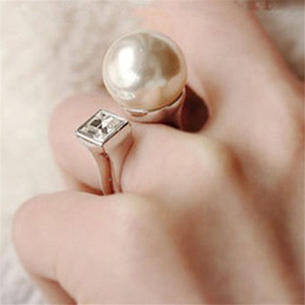 Gold/Silver Plated Simulated Pearls Rings Cubic Zircon Rhinestone Crystal Fashion Vintage Wedding Rings Engagement Jewelry Z4