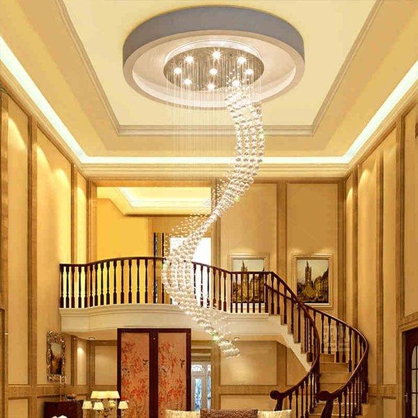 2019 Modern Lustre Crystal Chandeliers Lighting Fitting Single Spiral Staircase LED Lámpara colgante para vestíbulo Comedor Restaurante