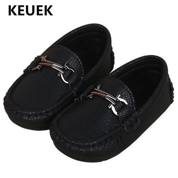 Nouveau Printemps / Automne Flats Enfants En Cuir Chaussures Garçons Black Chaussures Habillées Bébé Enfant Mocassins Enfants Étudiant 02B
