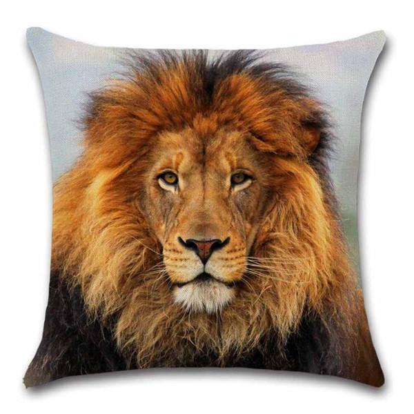 Lion stampato Animali colorato cuscino copriletto Throw Decor Sedia sedile divano decorativo Casa per bambini amico soggiorno regalo Federa