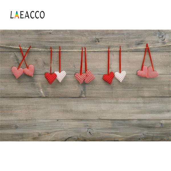 Fondo di fotografia del contesto fotografico di scena di San Valentino dei bordi di legno del cuore di amore di Laeacco felice per lo studio della foto