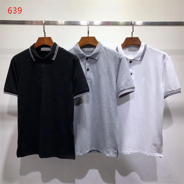 2019 Men's Contemporary Fit Stone-I Polo Shirt White Black Grey S-2XL Short Sleeve T-Shirt 639