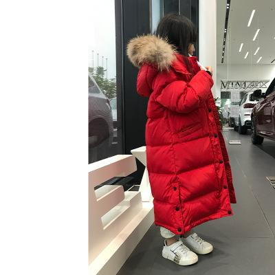 Girl Down Jacket Warm Child Down Parkas Coat Fur Kid Teenager Thickening Outerwear For Cold Winter