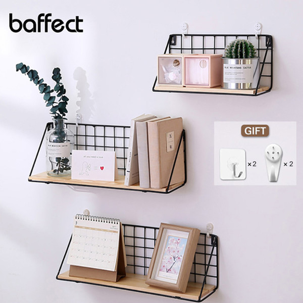 2019 Wooden Iron Wall Shelf Wall Mounted Storage Rack Organization For  Kitchen Bedroom Home Decor Kid Room Diy Wall Decoration Holder Q190429 From  ...