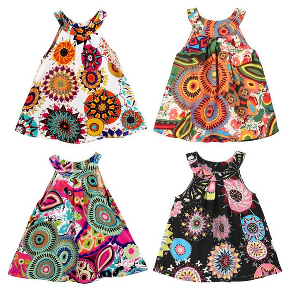 6M-4T Fashion Kids Clothes Print Vest Girl Baby Clothing Floral Dress for Baby Infant Outfit Vestido Bohemian Dresses