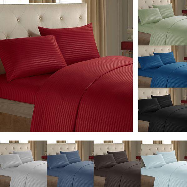 Conjuntos de cama listrada 3/4 pcs Chapa Plana Lençol Fronha cores sólidas Conjunto de Cama Gêmeo Completa Rainha King Size Quarto Hotel Bed Linhas