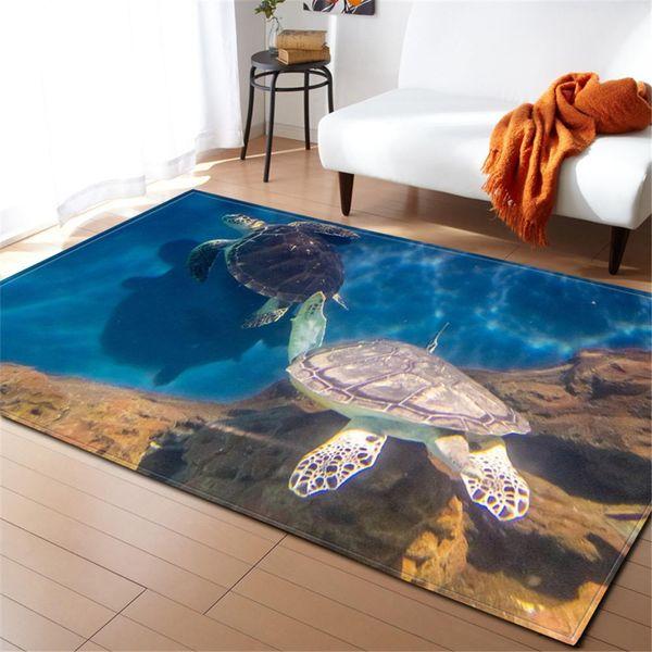 3D Ocean World Sea Turtle Rugs Kids Room Decor Area Rug Memory Foam Baby Play Crawling Mats Flannel Living Room Bedroom Carpet