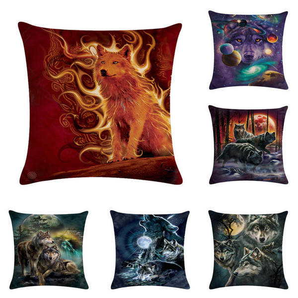 45 * 45cm 홈 장식, 광장 소파 Pillowcases에 대 한 맹렬한 늑대 패턴 동물 쿠션 커버