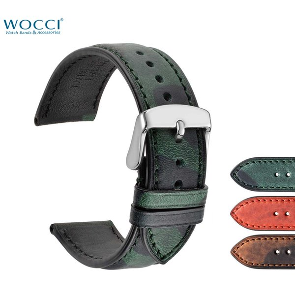 WOCCI Camo Wristwatchs Replacement Straps Military Sport Watch Bands Genuine Leather Relojes Width 18mm 20mm 22mm With Lugs Buckles Tool