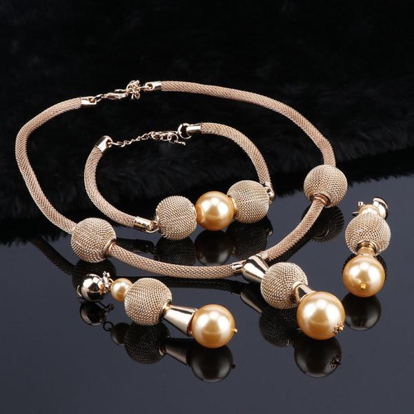 OEOEOS Jewelry Sets For Women Dubai Wedding African Beads Jewelry Set Luxury Bridal Jewelry Sets Simulated Pearl Jewellery
