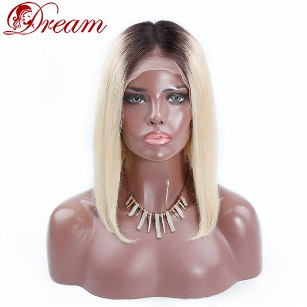 Мечта Реми Королева класс 8а бразильский человеческих волос средней части Боб фронт парик шнурка два тона ломбер 1b 613 темные корни блондинка шелковистая прямая