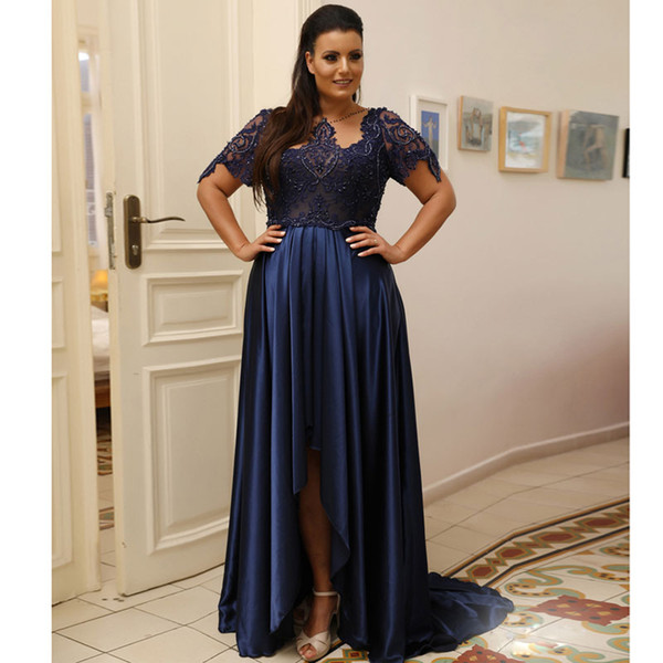 Navy Blue High Low Plus Size Prom Dresses With Short Sleeves Sheer Bateau  Neck Beaded Lace Evening Gowns Satin Formal Dress Plus Size Prom Dresses ...