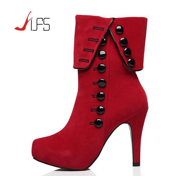 Vente en gros - Femmes Bottines Talons 2016 Rouge Chaussures à Talons Hauts Femme Plateforme En Daim Bottes D'hiver Femme Botas Zapatos Mujer