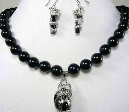 10mm black gem dragon earring pendant Necklace set 5.23 silver-jewelry moda silver-jewelry