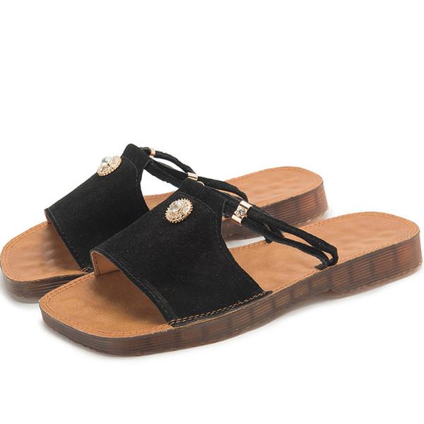 Flat Slides with Crystals ummer Slip-on Hiking Sandals In Metallic Leather for Women Designer Summer Beach flip flop Womens casual sandals