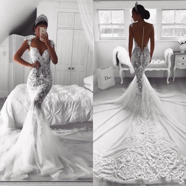 Vestidos de tren 2020 vestidos de boda de la sirena Nueva Ilusión africanos Cap mangas Apliques de encaje con cuentas de tul botón Volver Corte por encargo de novia