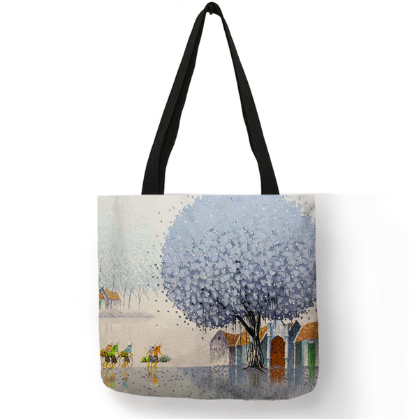 Flower Oil Painting Tote Bag For Women Lady Eco Linen Shopping Bags With Double Print Student School Traveling Bags Totespouch