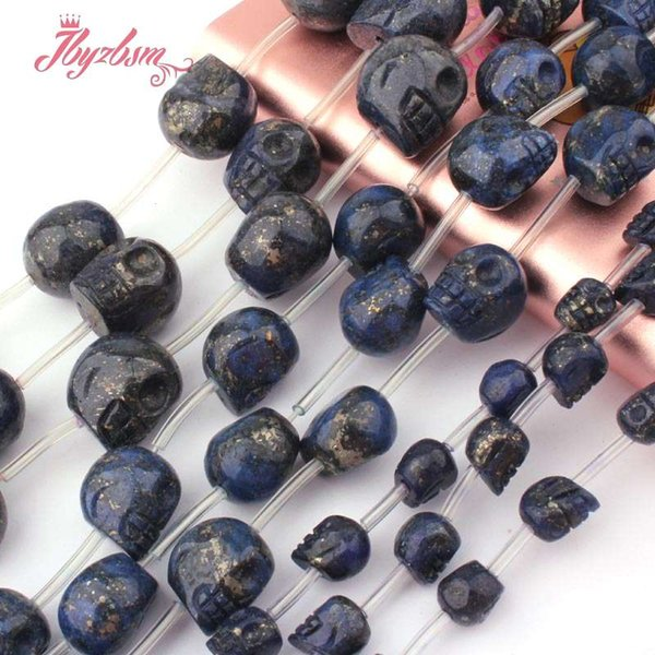 """8,12x14,14x16mm Carve Skull Blue Lapis Lazuli Beads Natural Stone Beads For Necklace Bracelet Jewelry Making 15"""" Free Shipping"""