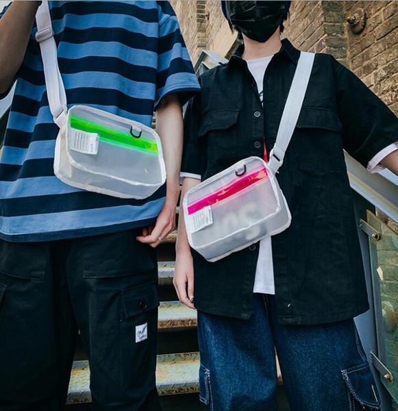 Tide brand Europe and America Messenger bag Japanese men and women ins trend small bag transparent hip hop shoulder bag