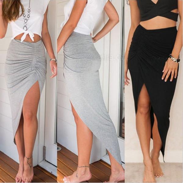 New Sexy Lado Das Mulheres de Alta Divisão Magro Irregular Saias Projeto Shirring Senhoras Plissadas Skinny Slit Maxi Longo Saia Lápis