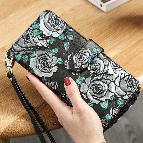 Women Genuine Leather Wallets Printing Zipper Female Clutch Ladies Wristlet Purse Hasp Long Wallet Ladies Phone Big Capacity Card Holder