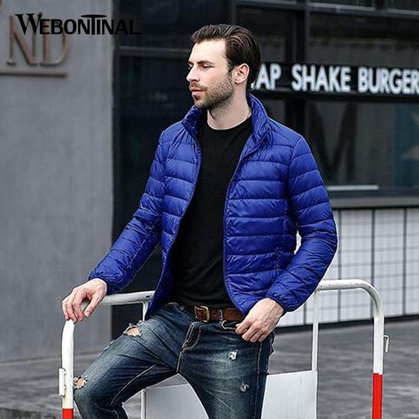 WEBONTINAL Autumn Winter Lightweight Thin 90% White Duck Jacket Men Casual Ultralight Male Feather Jackets Coat Ultra LightMX190828