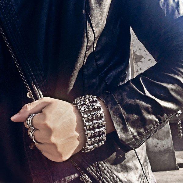 wide version of men's skeleton bracelet punk 316 stainless steel multiple skull heads charm bracelets biker hand chain