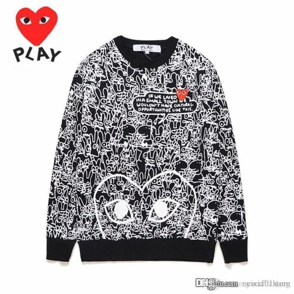 2019 Best Quality HOLIDAY Unisex Red Heart Graffiti Round Collar Sweatshirts CDG Play Pullover Casual Coat Com Des Garcons Sweatshirts B052