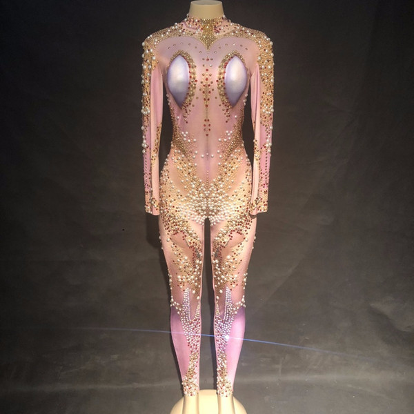 Sparkly Strass Sexy Body Donna Cantante Costumi Performance Tuta Bar DJ Show Party Stage Dance Compleanno Prom Outfit