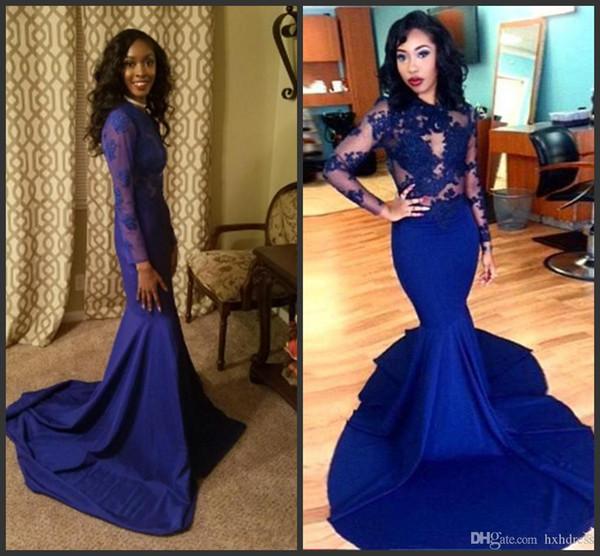 Manches longues robes de bal 2019 nouvelle magnifique col rond haut en dentelle longueur de plancher en satin stretch sirène robe de bal africaine bleue royale