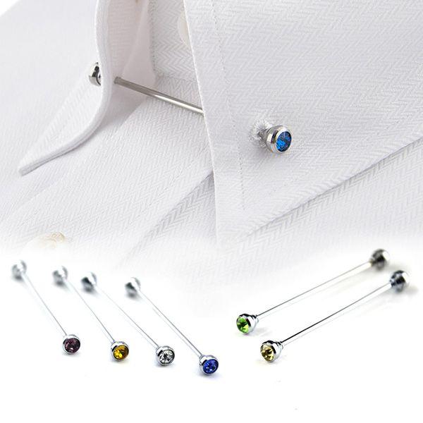 8Pcs Silver Rhinestone Men Shirt Collar Pin Bar Brooch Tie Stick Lapen Pin Shirt with Collar Bars Jewelry tie pin-P