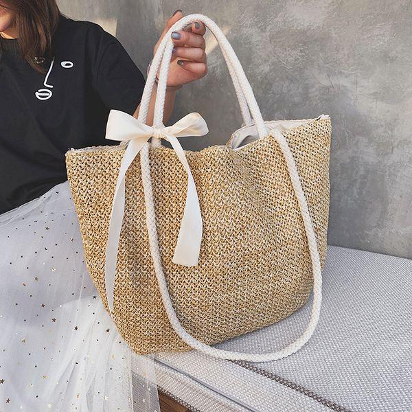 Women Handbag Beach Bag Rattan Woven Handmade Knitted Straw Large Capacity Totes