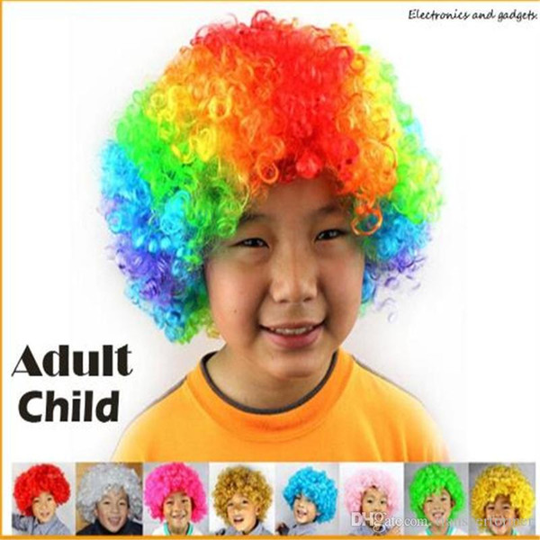 Fiesta del adulto del niño caliente Arco iris Afro peluca Traje de payaso Fanático del fútbol Peluca de Halloween Envío libre 2019040313 ayq