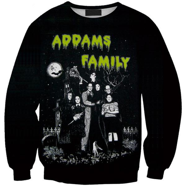 Frauen Sweatshirt Addams Family 3D Full Printed Girl Freie Größe Stretchy Beiläufige Hoodies Dame Lange Ärmel Tops Graphic Sweatshirts (RSws0125)