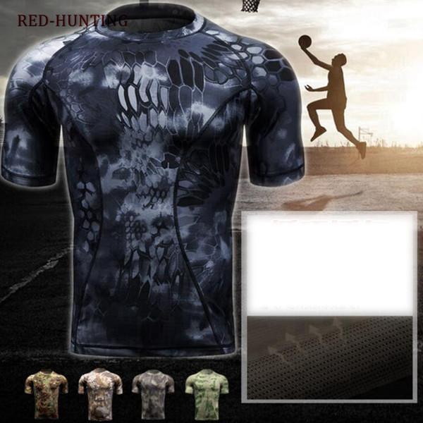 Camada de Base Apertada da Pele dos homens Camo Execução Camisas Caça Camisa Tática Respirável Manga Curta Multicam