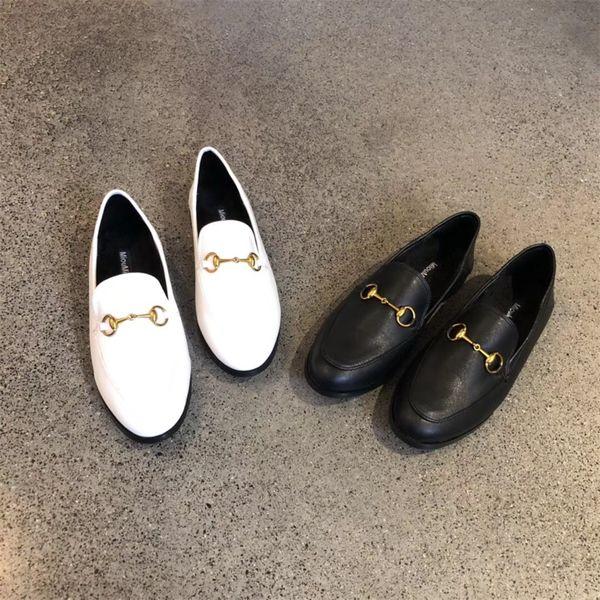 2019 neue mode metallschnalle frühling herbst damenschuhe flache unterseite zwei tragen retro Lok Fu dicke ferse schwarz weiße schuhe