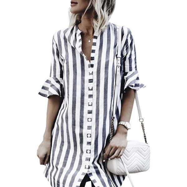 Black White Striped Dress Women O Neck Flare Half Sleeve Casual Dresses Streetwear Loose Ladies Shirt Dress Vestidos Mujer 2019