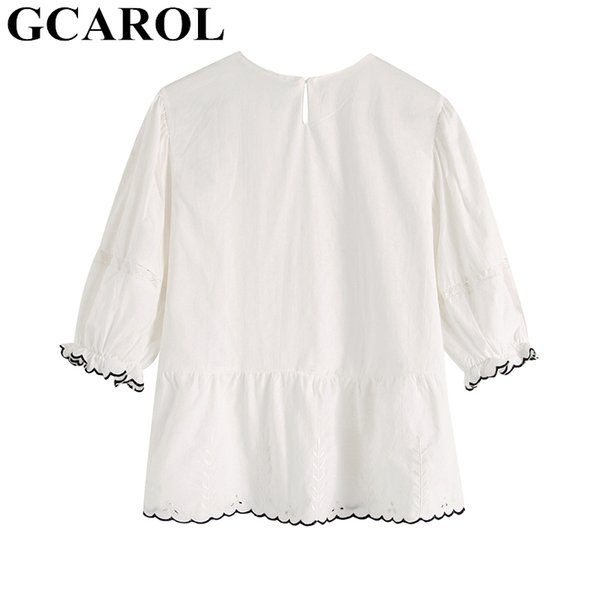 61e11812ce3 GCAROL 2019 Spring Summer Women Ruffles Lace Blouse Puff Sleeve White Crop  Tops Sweet Chic Tunic Flouncing Lace Shirt