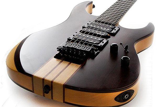 Melhor qualidade Chinês personalizado 6 Cordas pescoço Através de Guitarra Elétrica com Floyed rosa, hardware de ouro