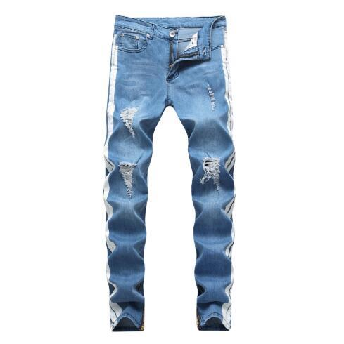 European and American Mens Jeans High Street Hole Stretch Slim Feet Denim Trousers Personality Design Mens Jeans