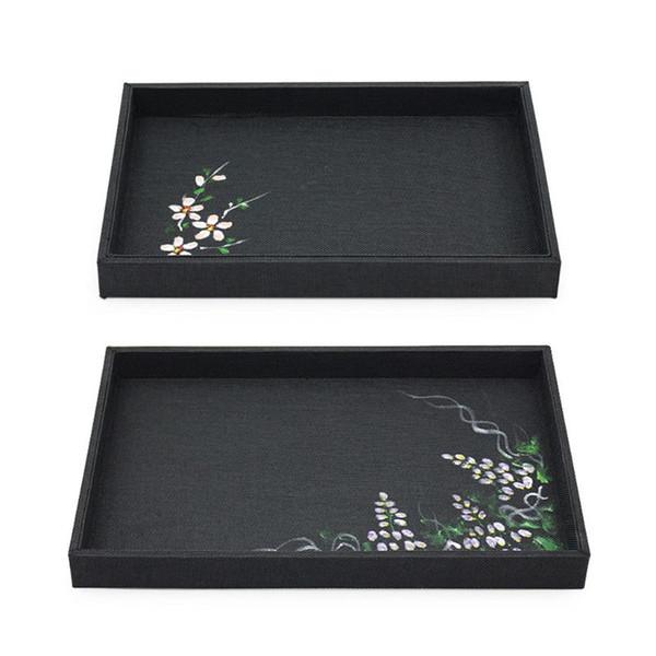 Noir Bijoux Plateau Freehand Esquisser Collier Bracelet Bague d'affichage Assiette vide